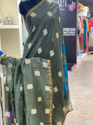 Picture of Pure Soft Chanderi Silk Saree With Complete Hand Done Shibori