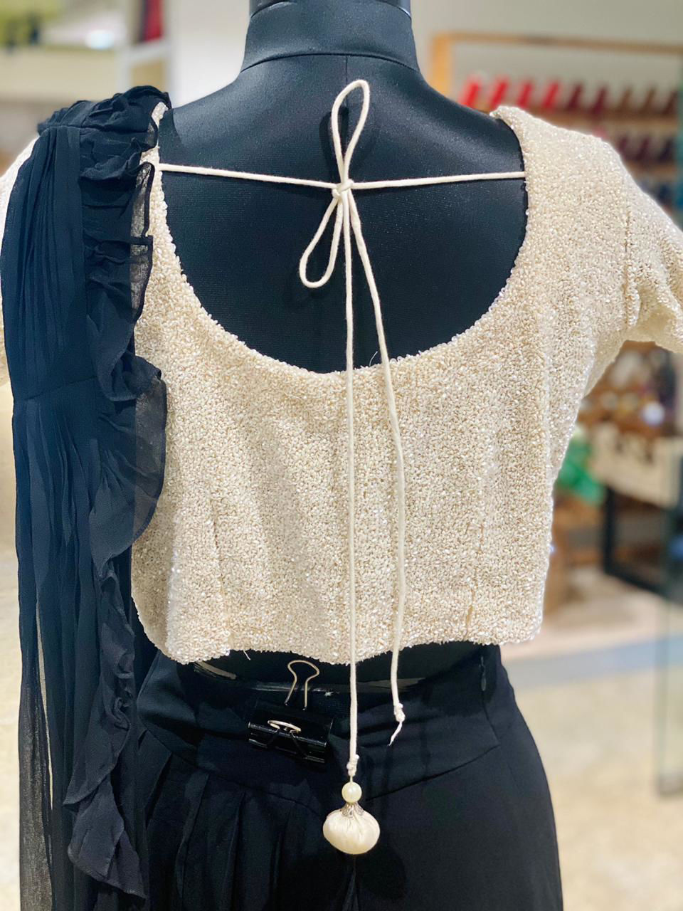 Picture of Indo-Western Black Ruffled Skirt With Drape And Moti Blouse