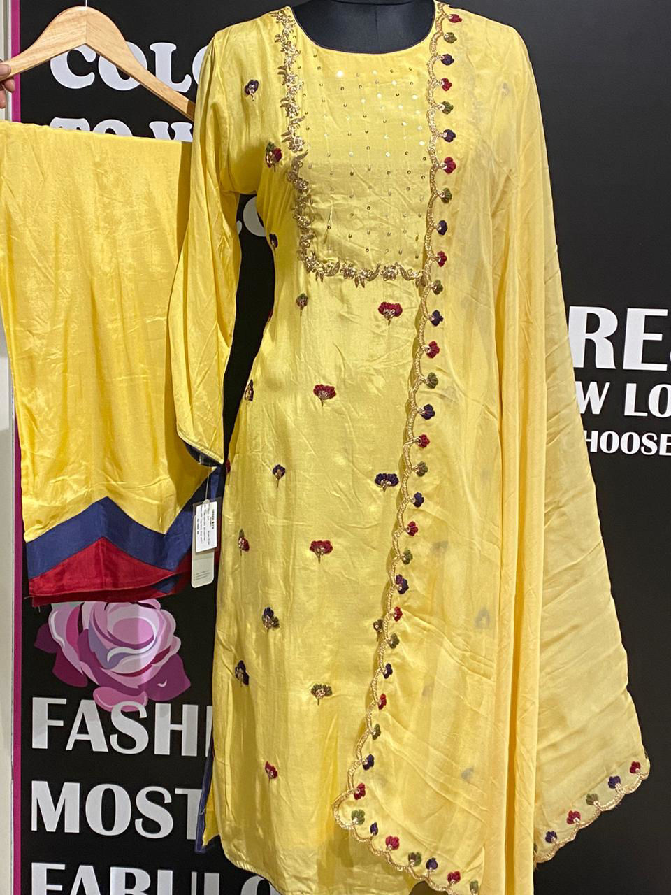 Picture of Straight Cut Tunic In Silk With Titli Work With Palazzo And Dupatta