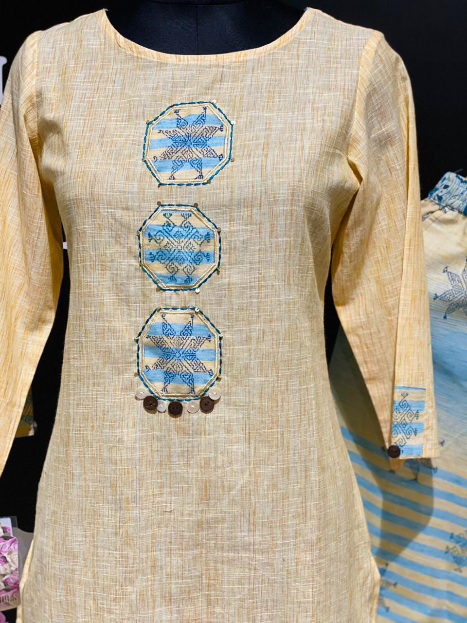 Picture of Straight Tunic In Self Weaved Fabric with Pants