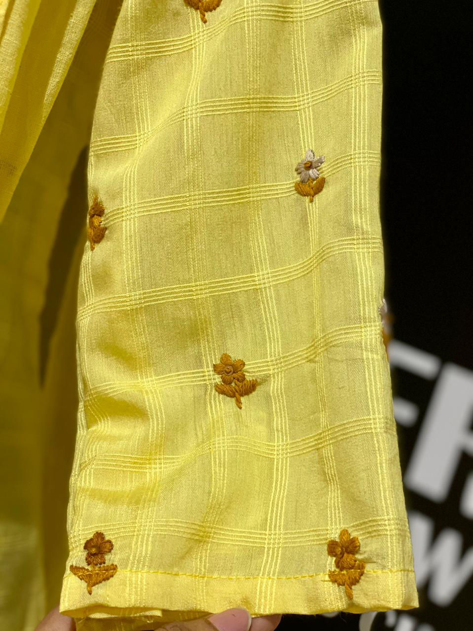 Picture of Straight Silk Tunic In Self Checks With Dupatta