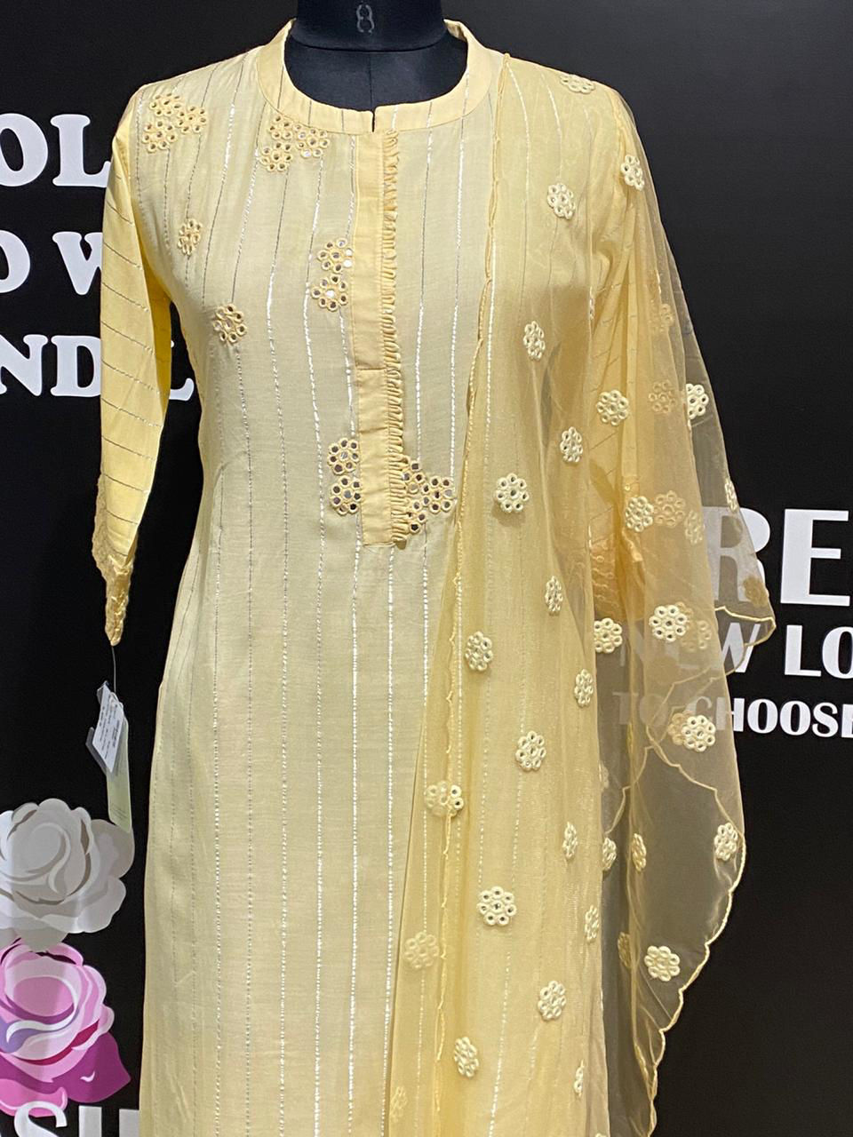 Picture of Straight Cut Tunic In Silk With Silver Stripes And Net Dupatta