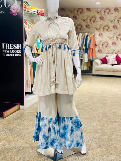 Picture of Short Tunic Indo-Western Style And Tie and Dye Sharara