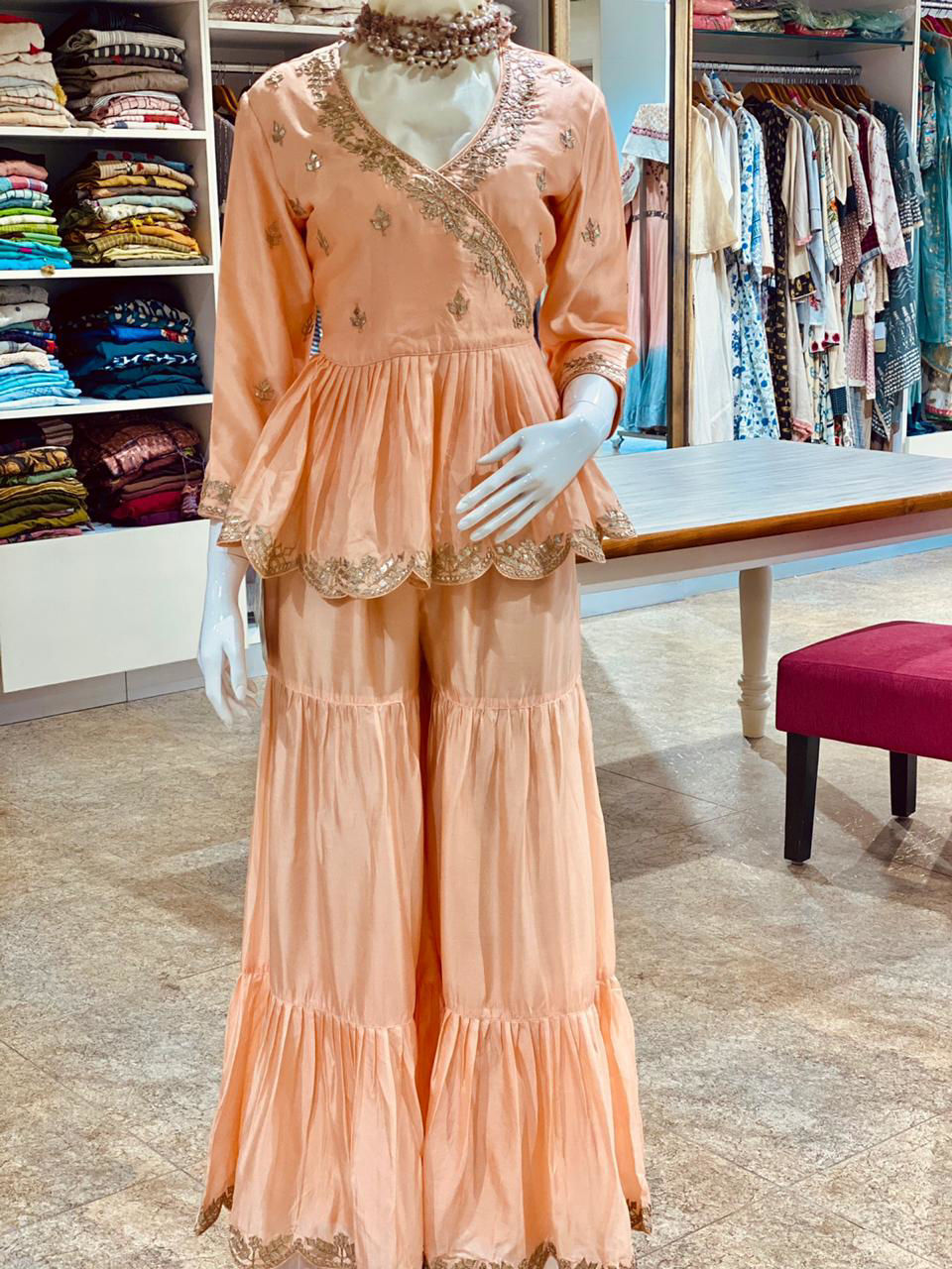 Picture of Silky Peplum Designer Top With Sharara