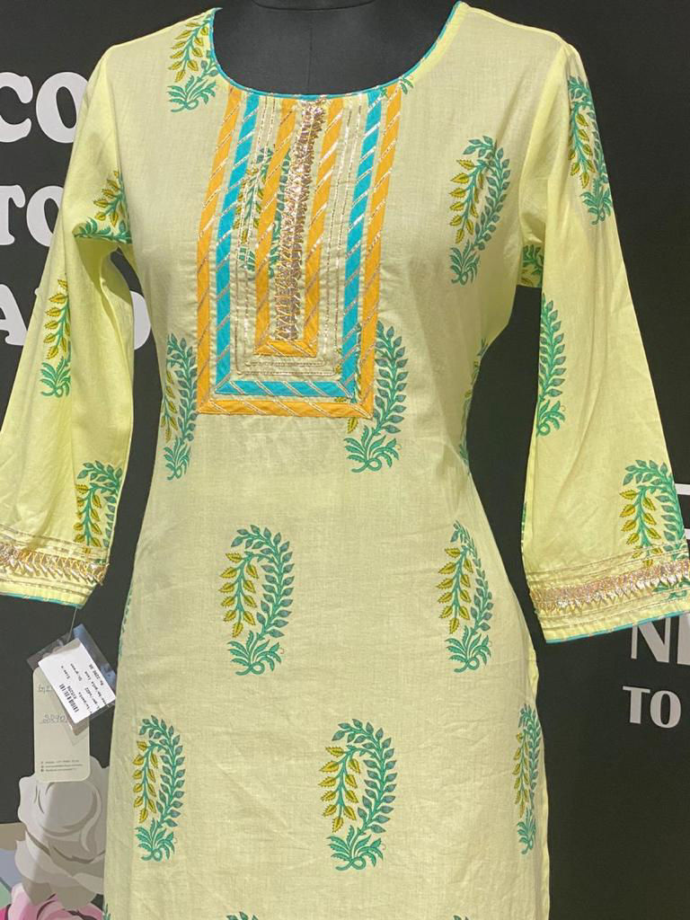 Picture of Soft Cotton Fabric Tunic With Block Prints And Pants
