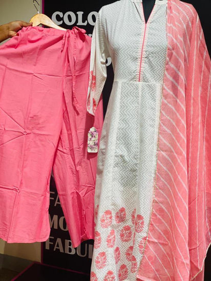 Picture of Cotton Anarkali Style Block Printed Kurta With Pants And Dupatta