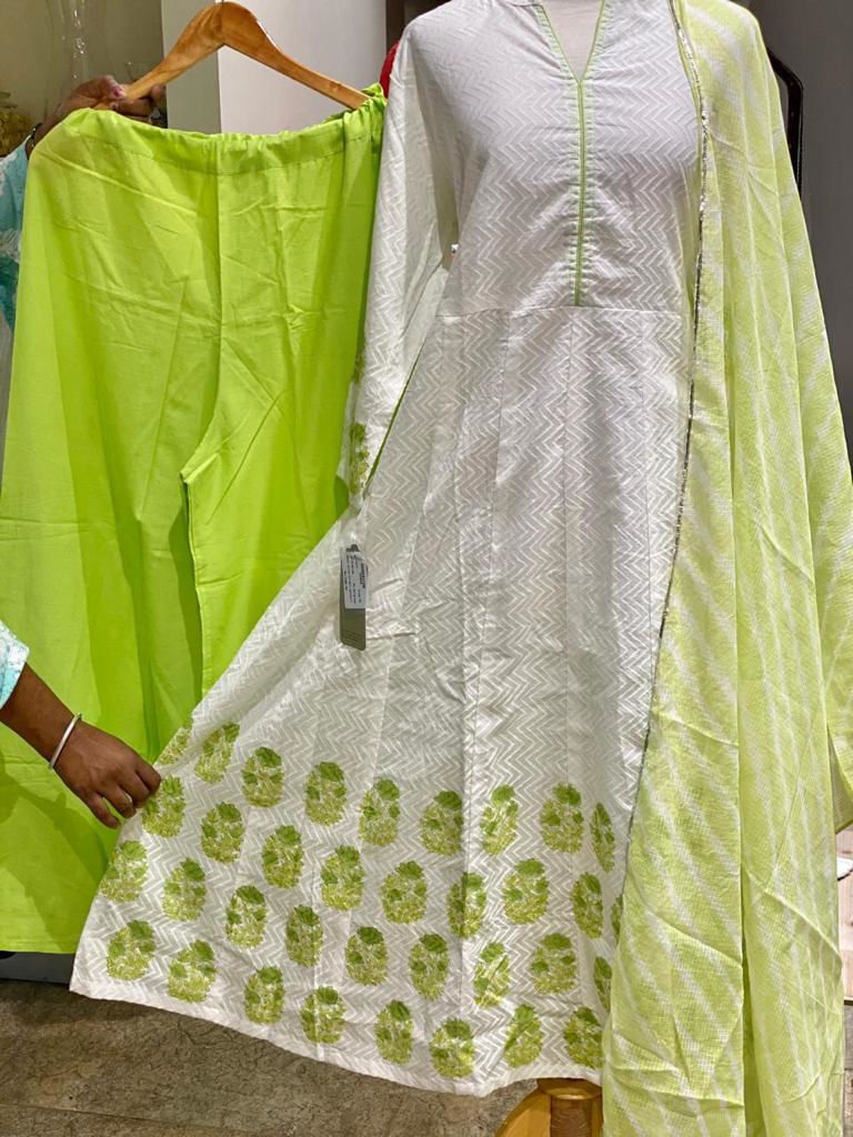 Picture of Cotton Anarkali Style Block Printed Kurta With Pants And Dupatta - Green