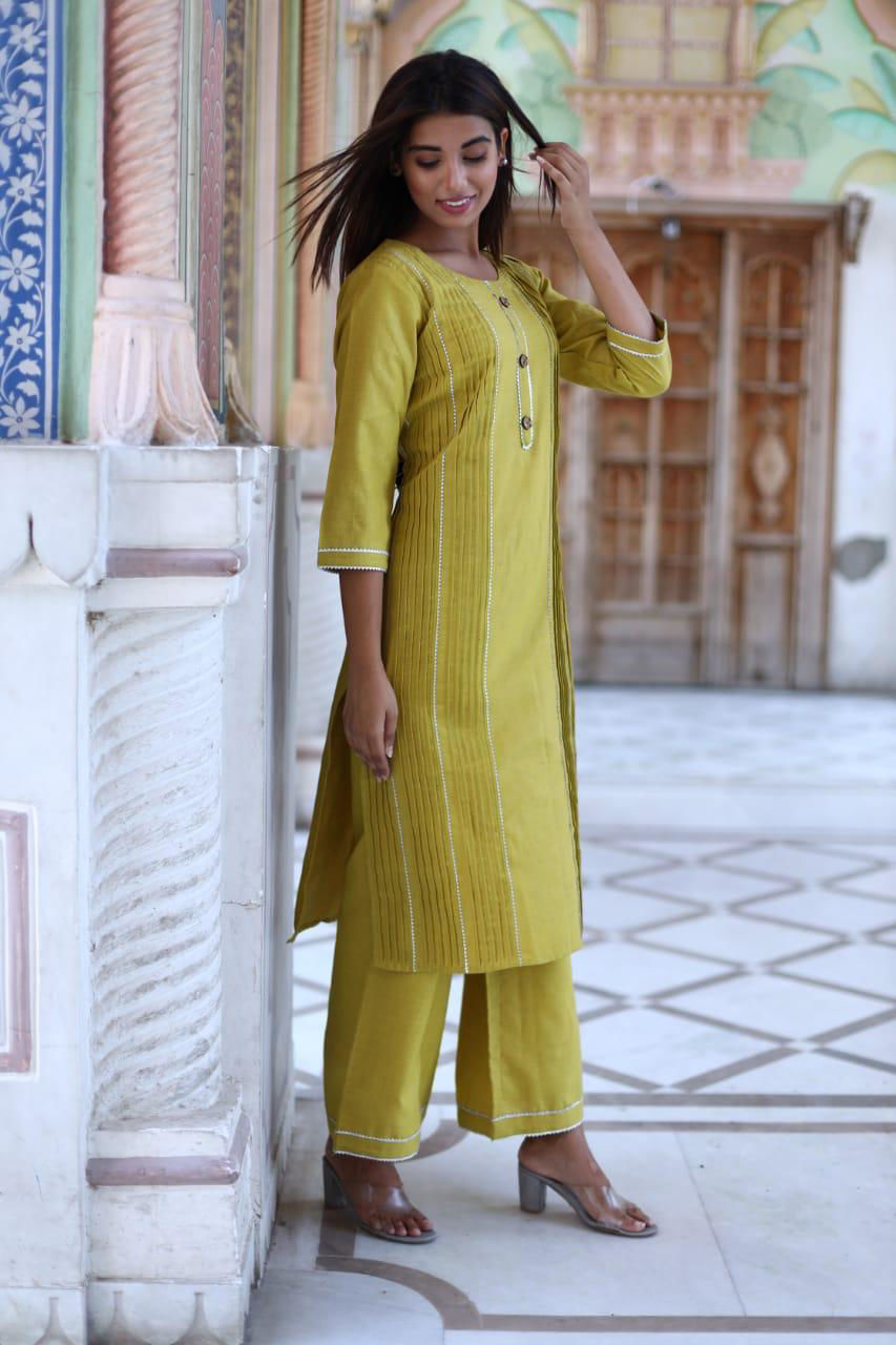 Picture of Straight Cotton Tunic With Pintux And Pants