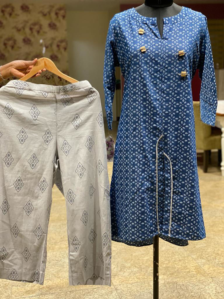 Picture of Soft Denim Cotton Block Printed Kurta With Pants