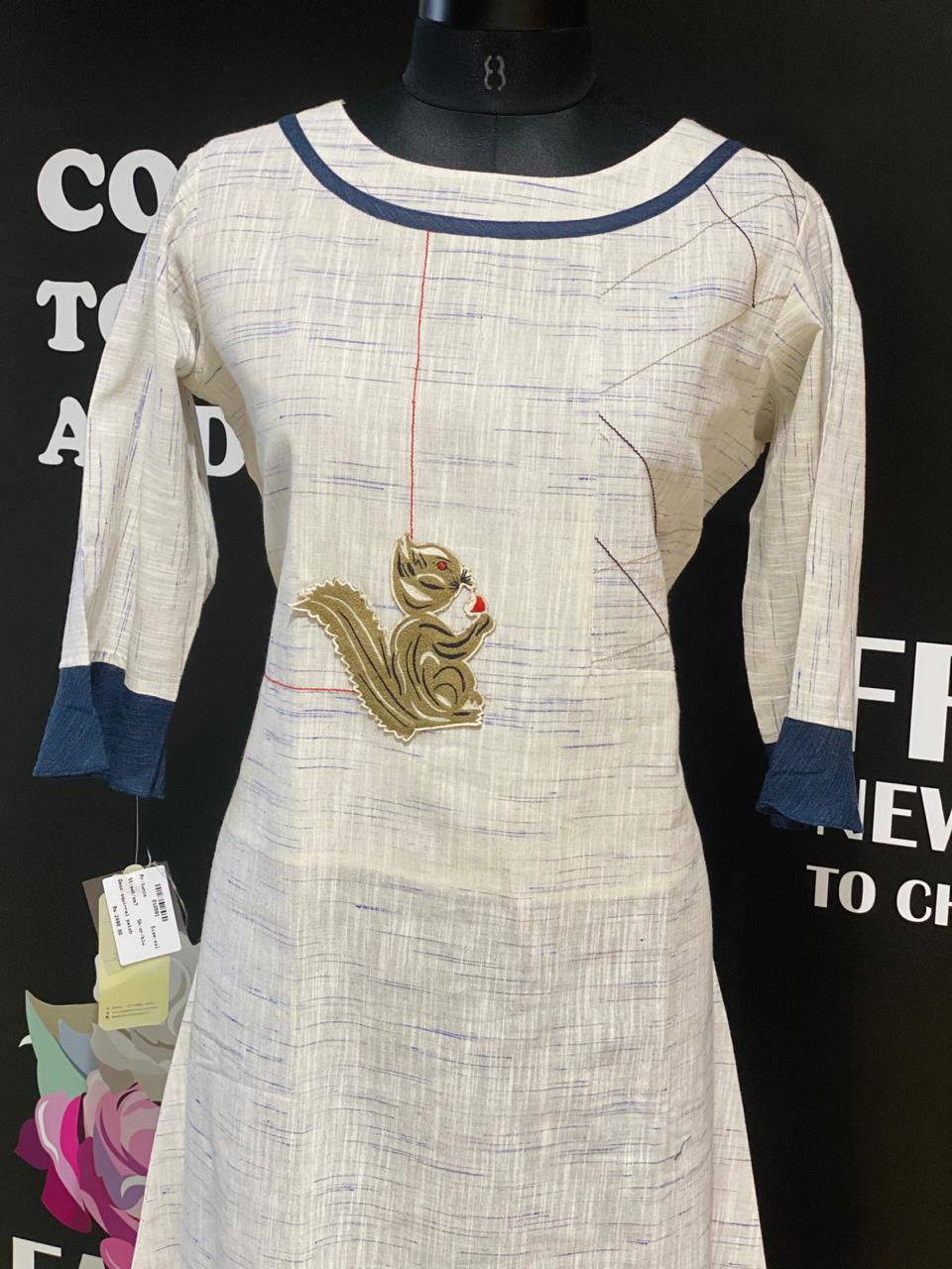 Picture of Soft Linen Based Cotton Tunic With Patch Detailing
