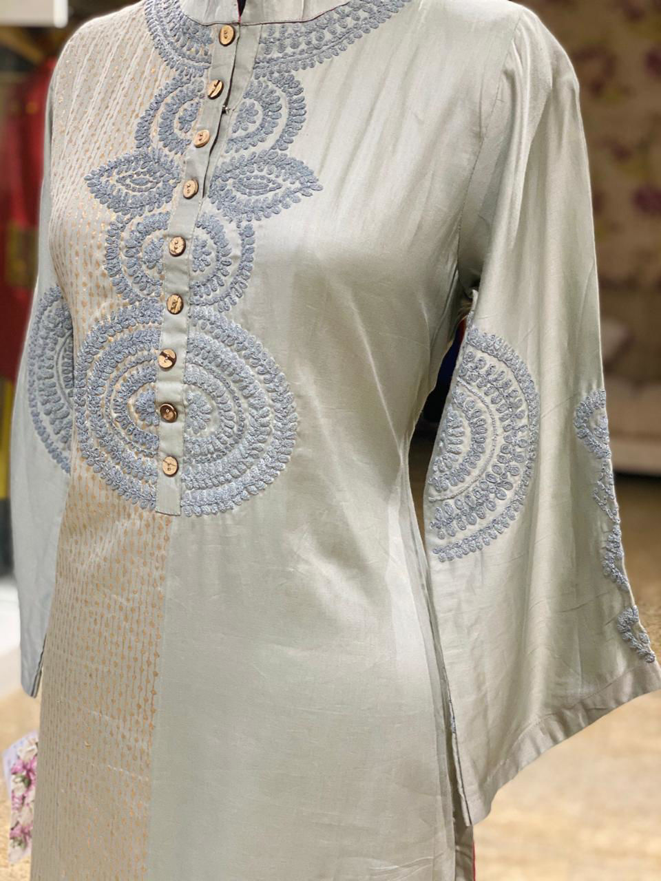 Picture of Gold Block Printed Pure Chanderi Tunic
