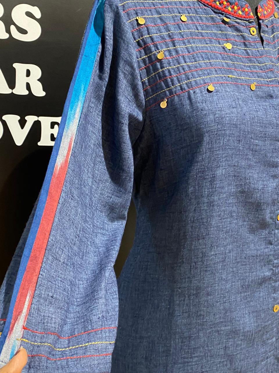 Picture of Denim Style Soft Handloom Tunic With Ikkat