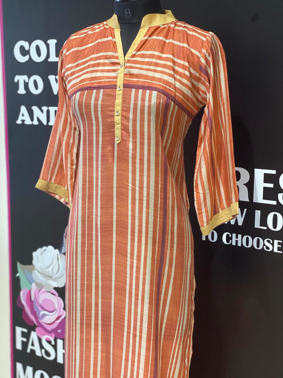 Picture of Straight Soft Silk Tunic Stripes Pattern