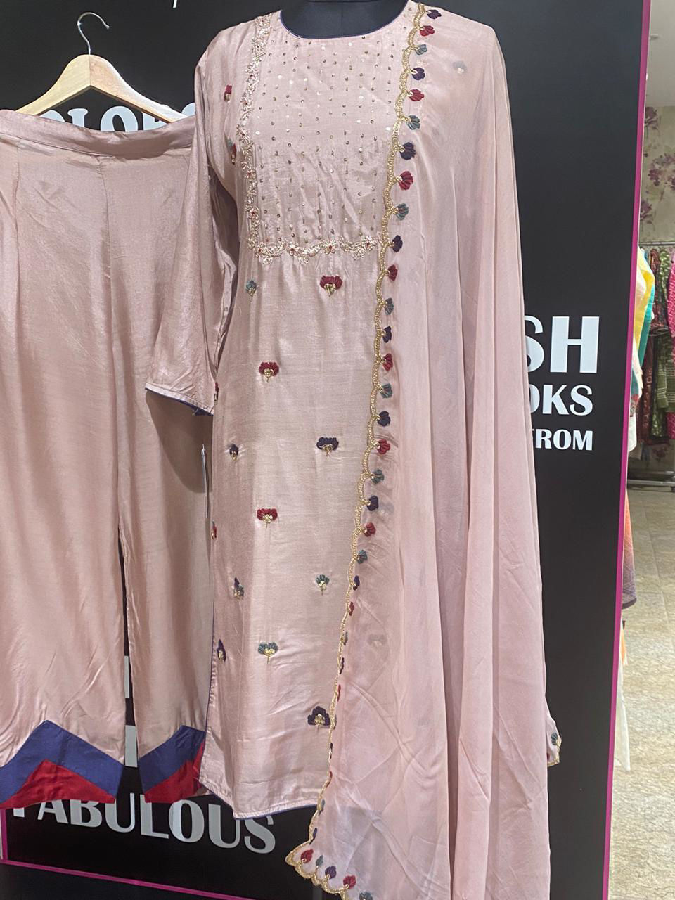 Picture of Pure Soft Silk Cut Worked Tunic With Palazzo And Dupatta