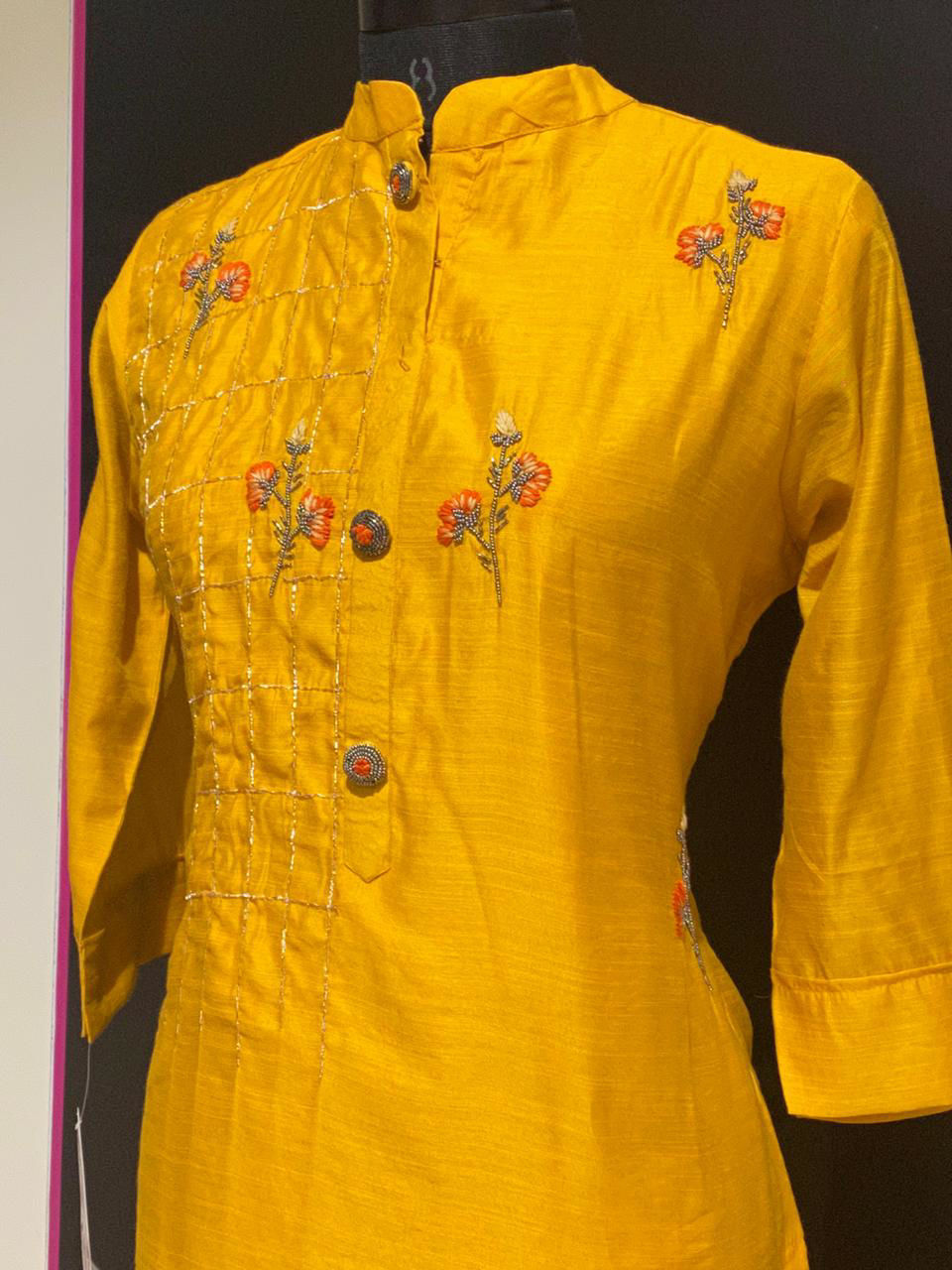 Picture of Soft Chanderi Silk Tunic With Hand Work