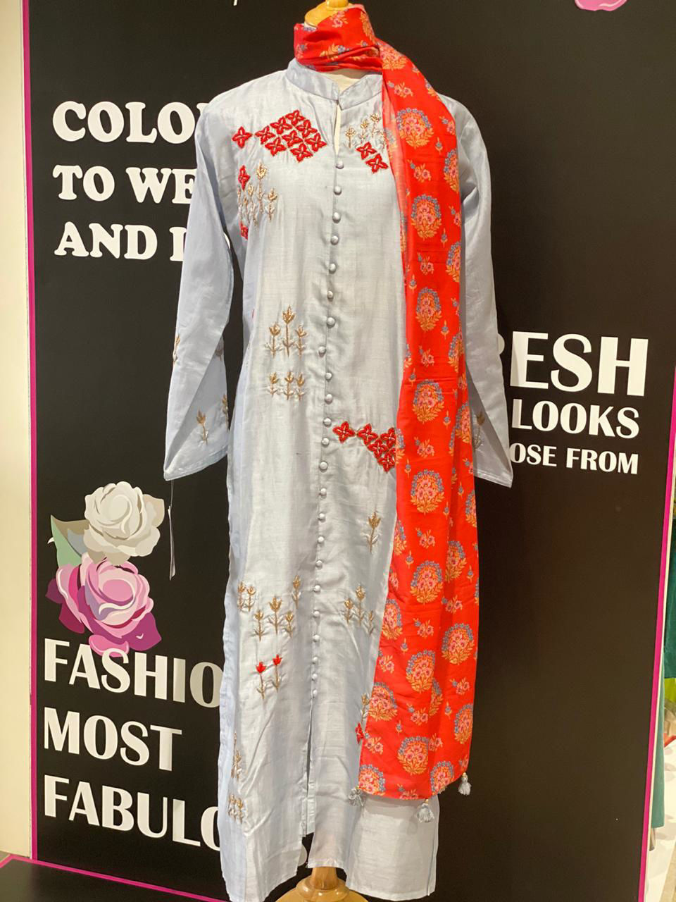Picture of Pure Chanderi Silk Tunic With Zardozi Work And Dupatta