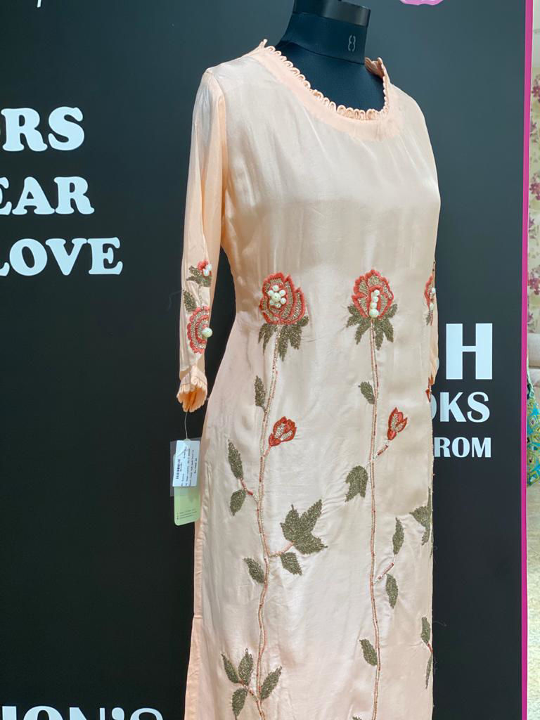 Picture of Soft Silk Straight Cut Tunic With Pearl Detailing