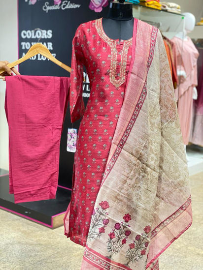 Picture of Straight Chanderi Silk Tunic With Neck Work With Pants And Dupatta