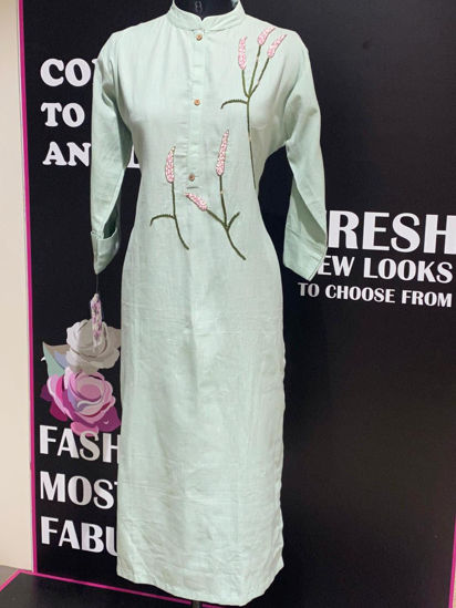 Picture of Subtle Soft Linen Cotton Tunic With Embroidery