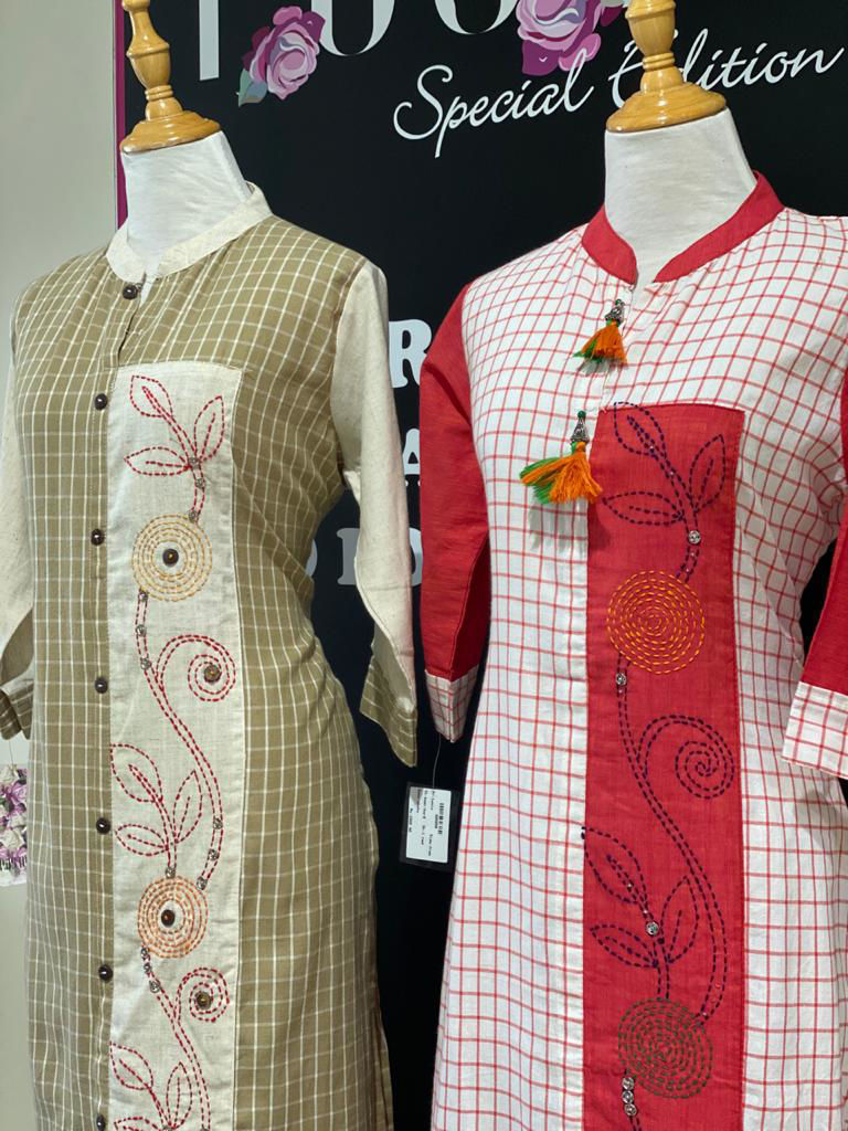 Picture of Handloom Soft Linen Cotton Tunic With Checks And Embroidery