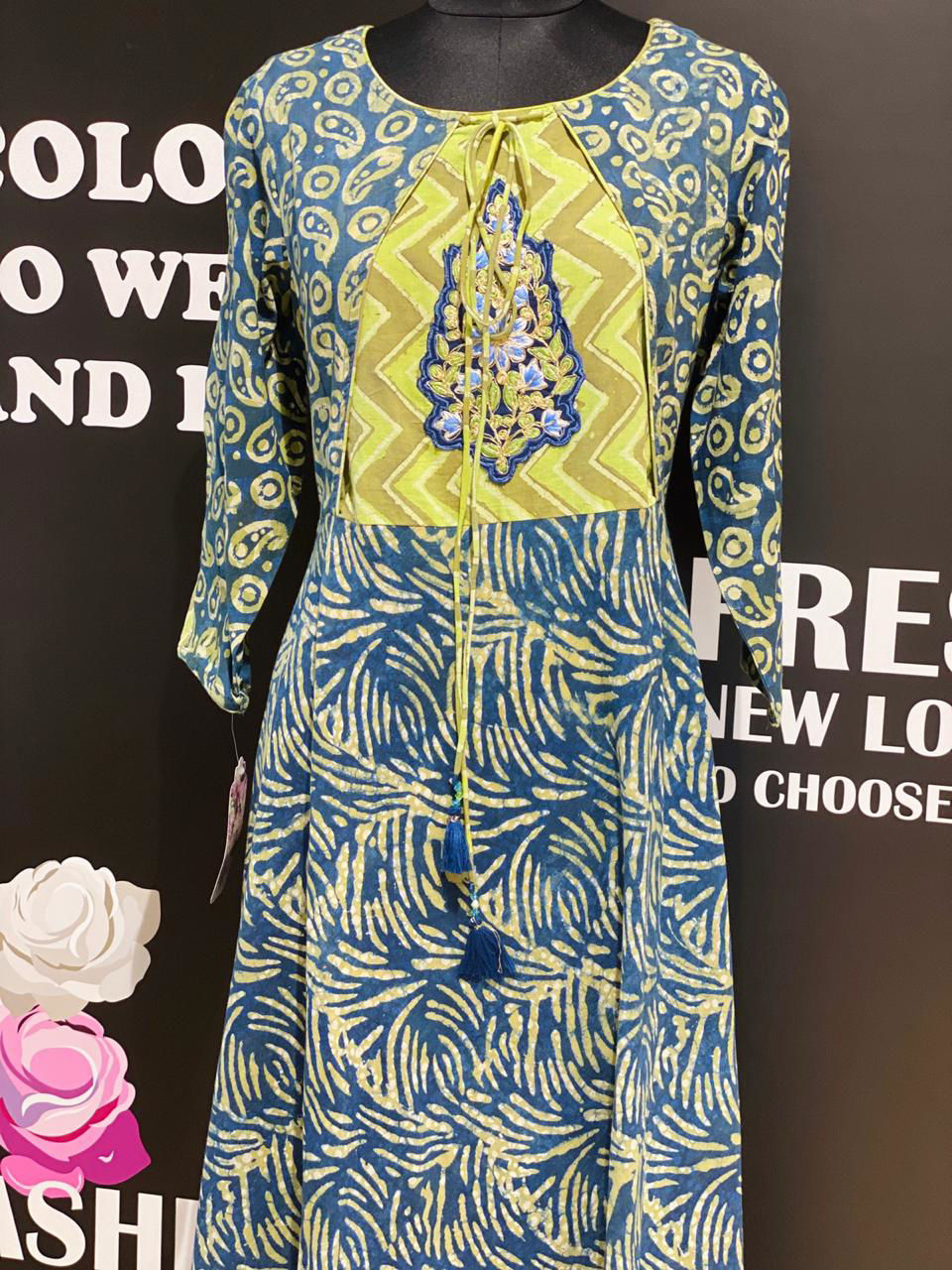 Picture of Long Block Printed Floor Length Tunic In Flair Style