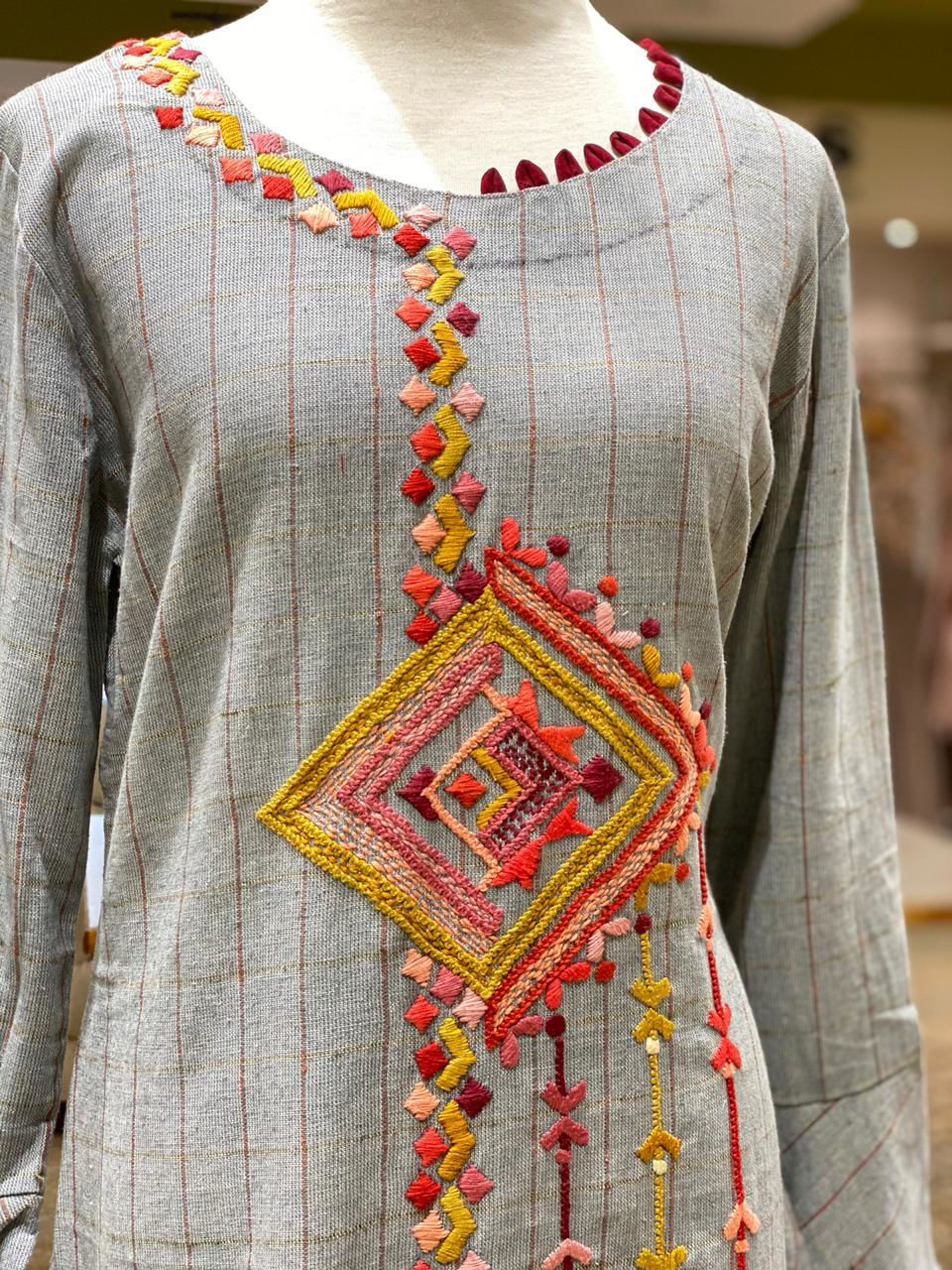 Picture of Long Handloom Tunic With Colorful Embroidery