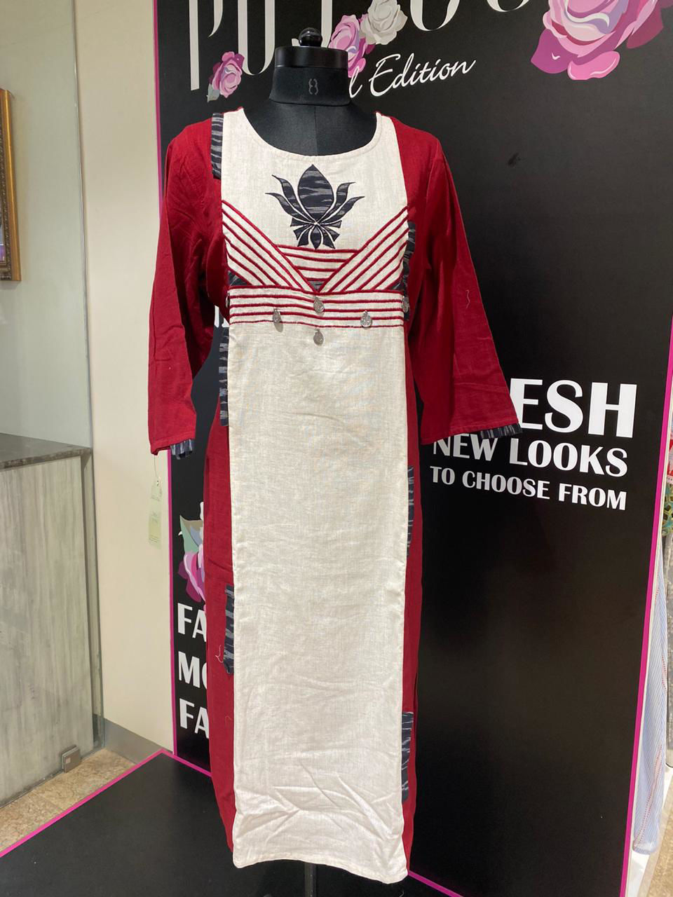 Picture of Long Handloom Cotton Tunic With Patch Work