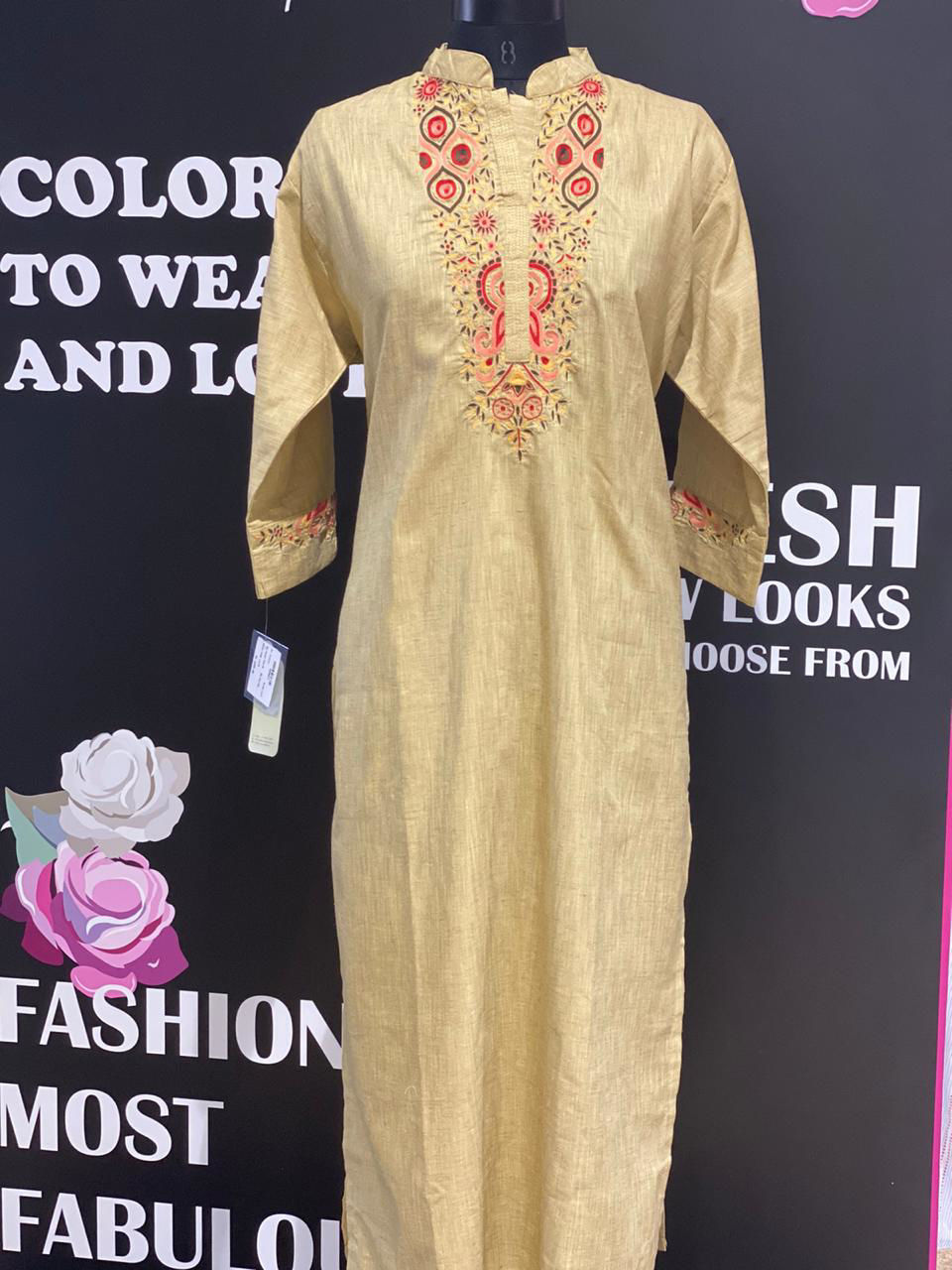 Picture of Long Straight Tunic With Detailed Neckline And Sleeves