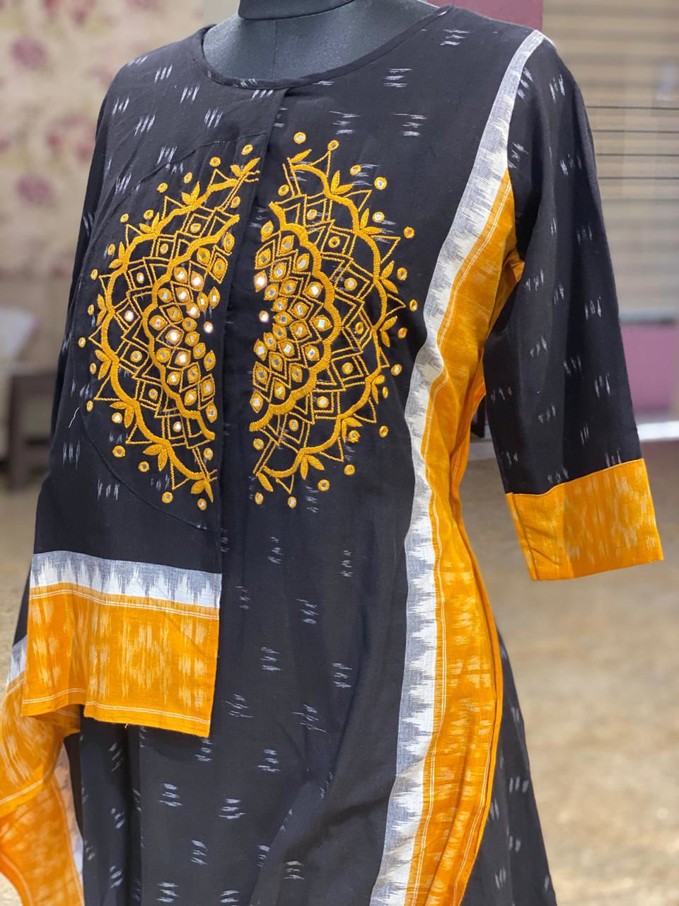 Picture of Pure Ikkat Tunic In Drape Style