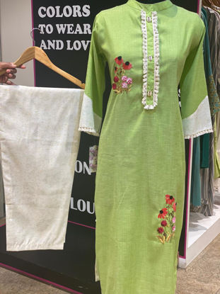 Picture of Linen Based Thick Cotton Tunic With Self Weaved Pants