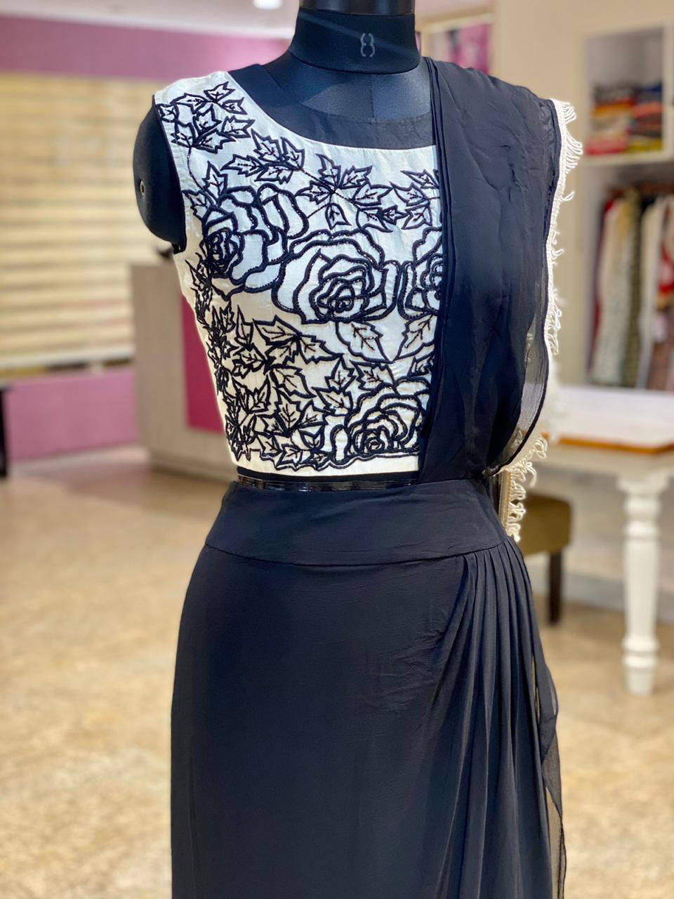 Picture of Indo-Western Embroidered Top And Georgette Skirt