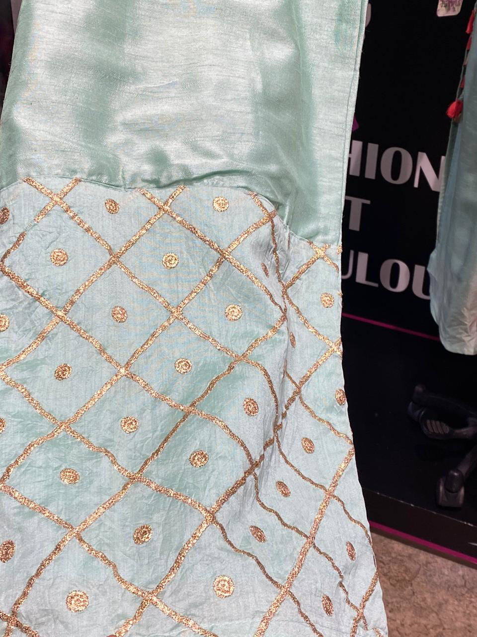 Picture of Pure Silk Straight Cut Kurta In Neckline Work With Palazzo And Dupatta