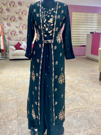 Picture of Indo-Western Short Top , Long Jacket Palazzo With Zardozi
