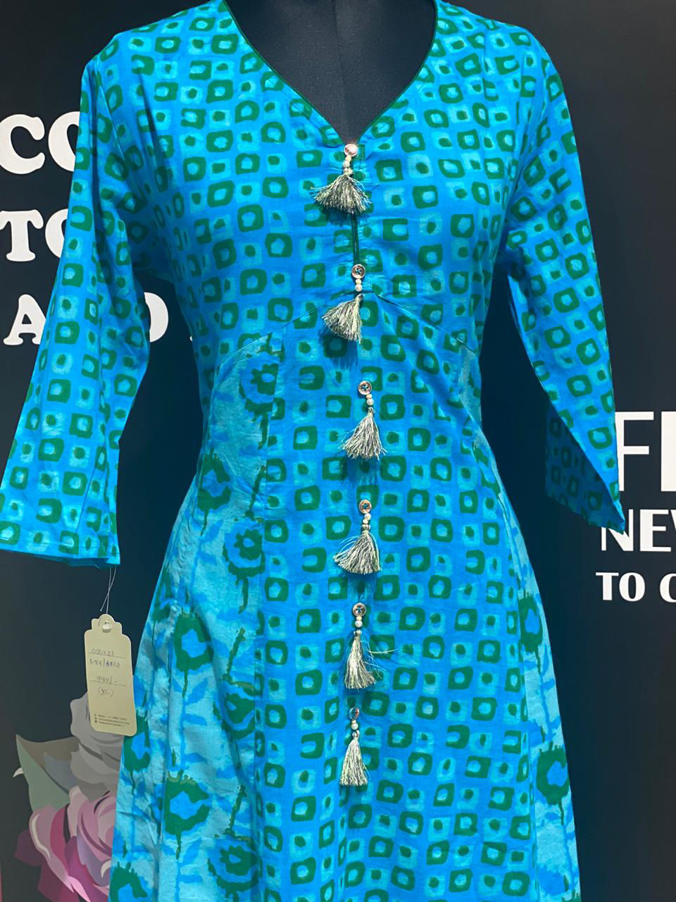 Picture of Long A Line Tunic With Mud Block Print And Buttons