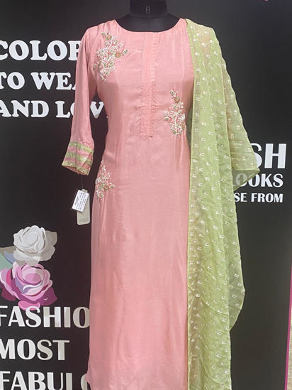 Picture of Soft Silk Pink Hand Work Tunic With Dupatta