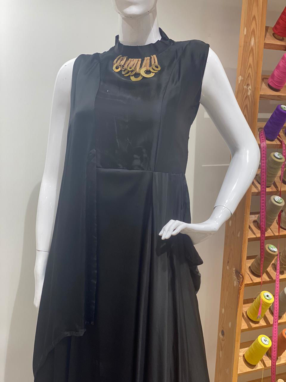 Picture of Black Soft Satin Silk Gown With Cuts Flap
