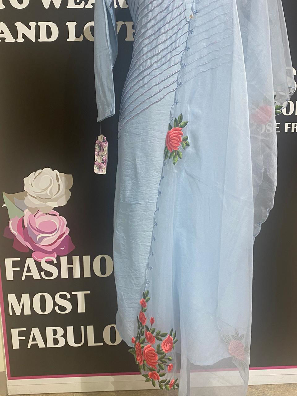 Picture of Silk Blue Hand Worked Roses Tunic With Organza Silk Dupatta
