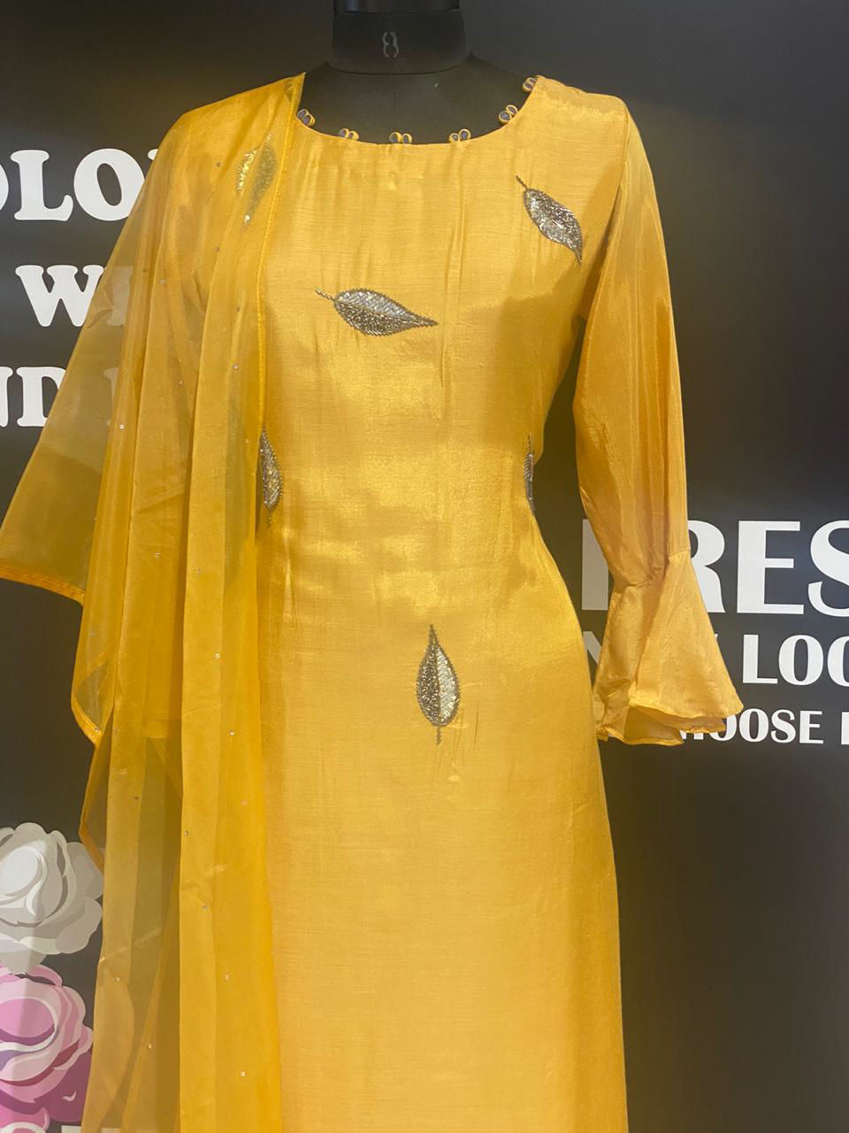Picture of Soft Silk Yellow Hand Work Tunic With Silk Dupatta