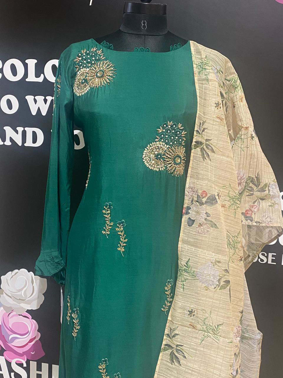Picture of Soft Silk Tunic Straight Cut With Chanderi Silk Dupatta With Floral Prints