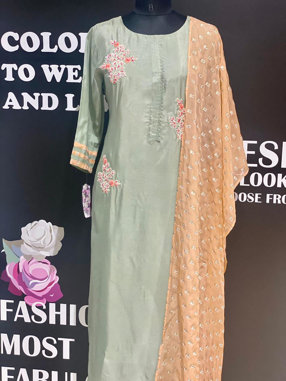 Picture of Soft Silk Grey Hand Work Tunic With Dupatta
