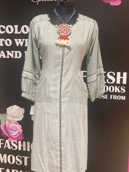 Picture of Cotton Tunic with Neck Piece And Balloon Sleeves