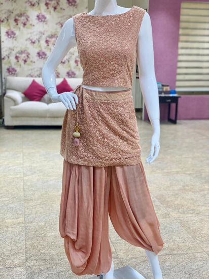 Picture of Georgette Indo-Western Crop Top With  Dhoti Pants Attached Skirt