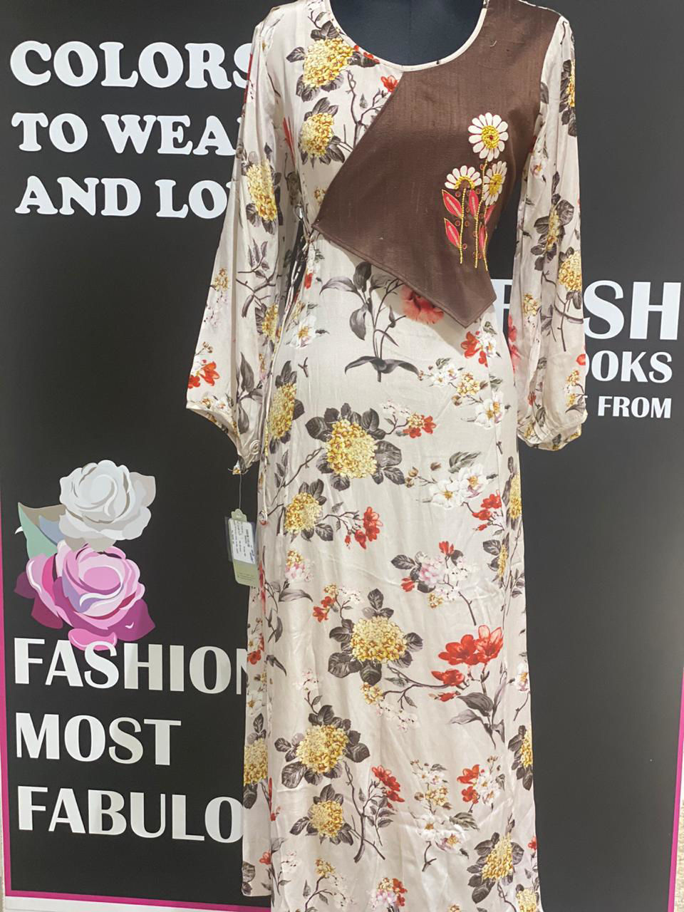 Picture of Crepe Silk Tunic With Embroidery Flap Floral Prints