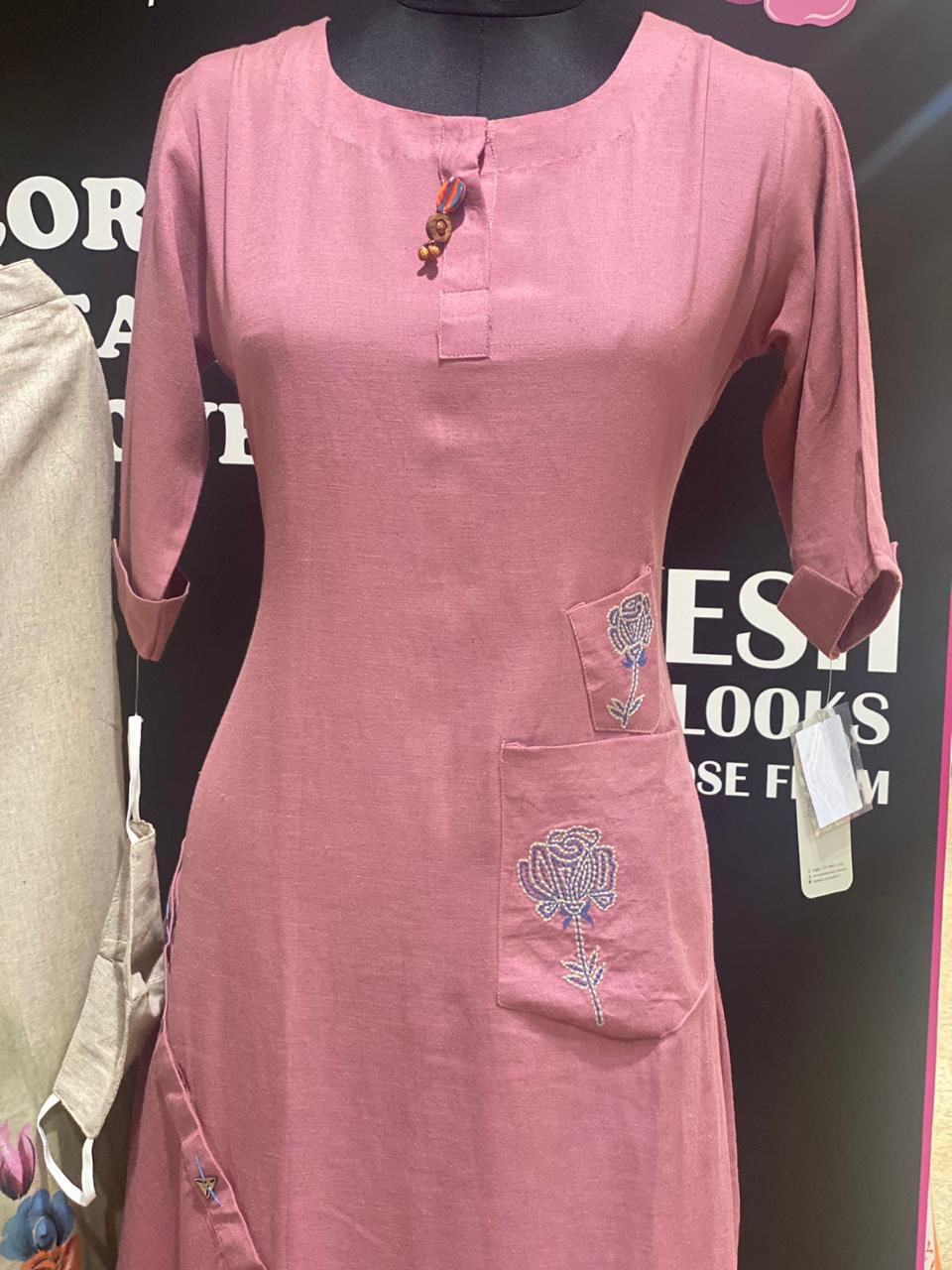 Picture of Linen CottonTunic With Stylish Cut And Embroidery With Pants And Matching Mask