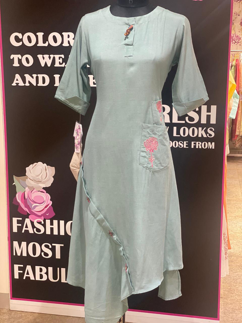 Picture of Linen CottonTunic With Stylish Cut And Embroidery With Pants And Matching Mask - Blue