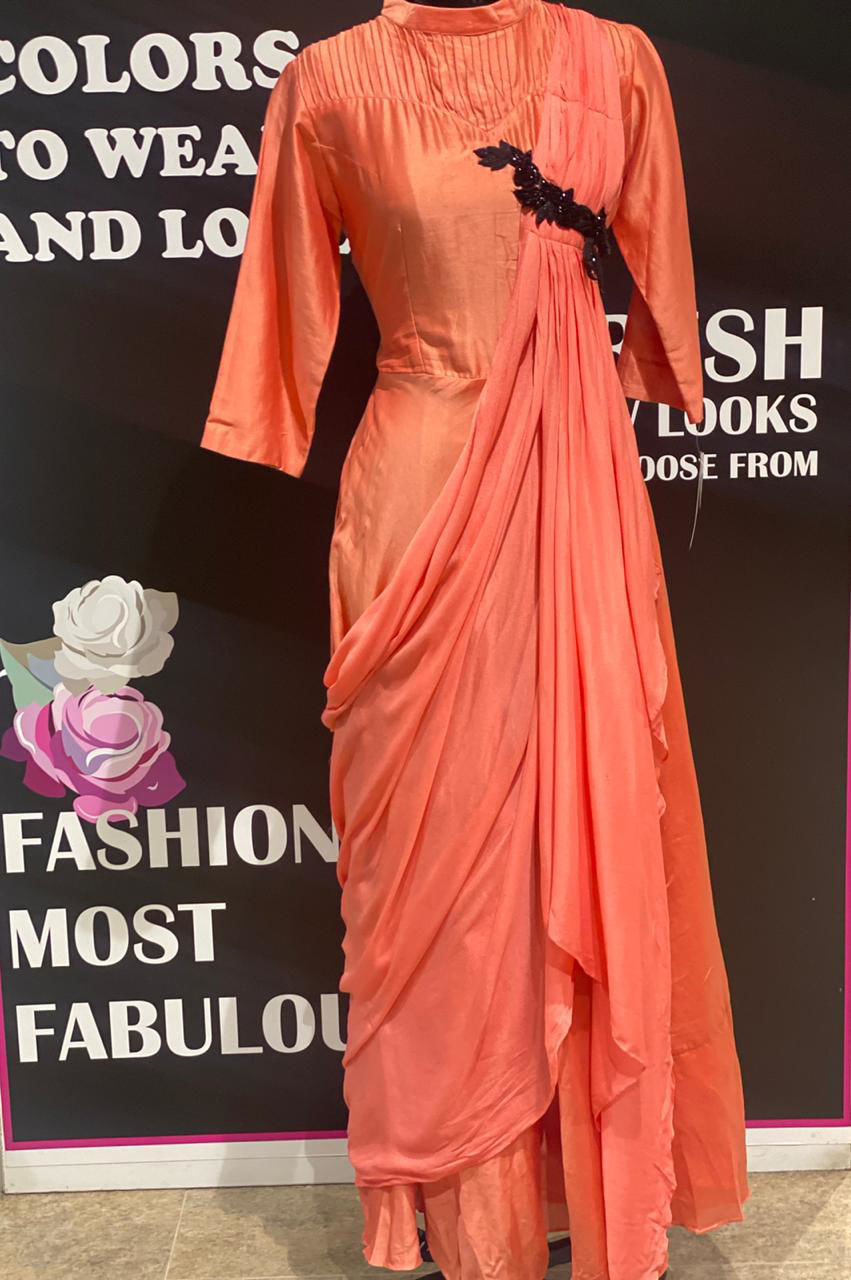 Picture of Chanderi Silk Long Floor Length Gown In Drape Style With Closed Neck
