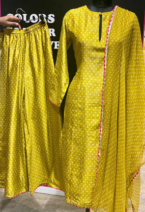 Picture of Chanderi Silk Straight Cut Long Tunic With Same Print Pallazo And Dupatta