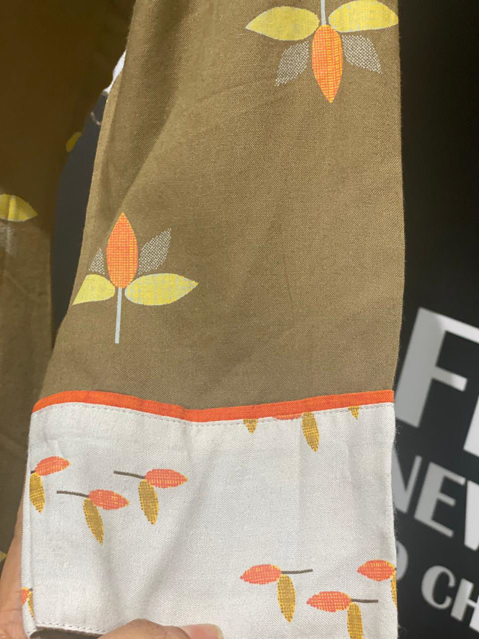 Picture of Soft Brown Printed Flex Cotton Kurta