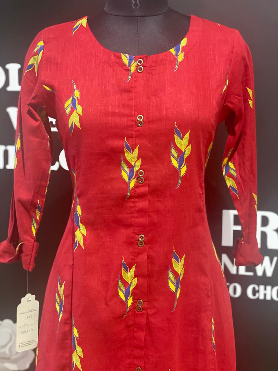 Picture of Soft Cotton Printed Kurta A Line With Pockets - Deep Red