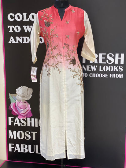 Picture of Pure Silk Shaded Kurta With Hand Work